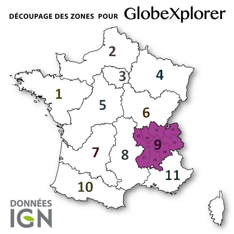 Globexplorer - Carte Topographique de la zone 9 - départements 42, 69, 01, 74, 38, 73, 07 et 26 - 1 : 25 000